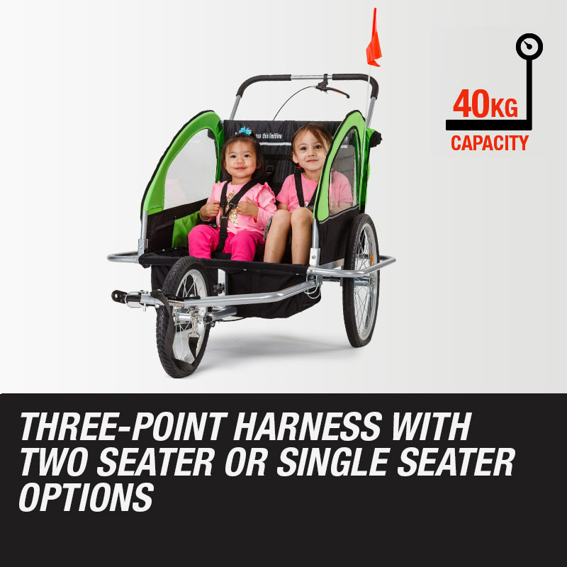 Tag-along Kids Bike Trailer Bicycle Pram Stroller Children Jogger Green by Tag-Along