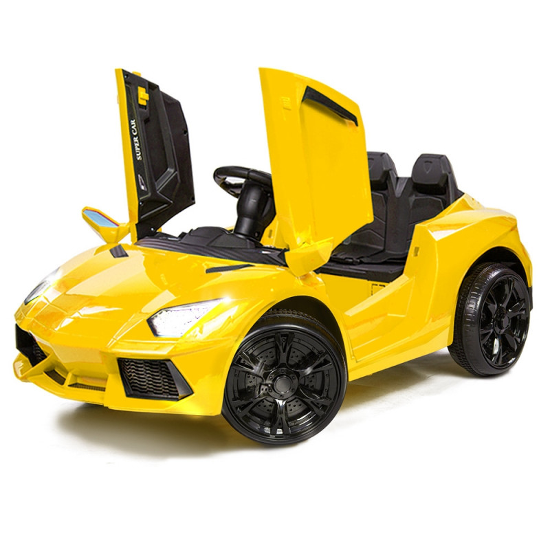 Yellow Lamborghini Inspired Electric Kids Ride On Car by Rovo Kids