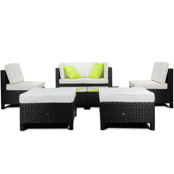 LONDON RATTAN Modular Sofa Outdoor Lounge Set 8pc Wicker Black Light Grey by London Rattan
