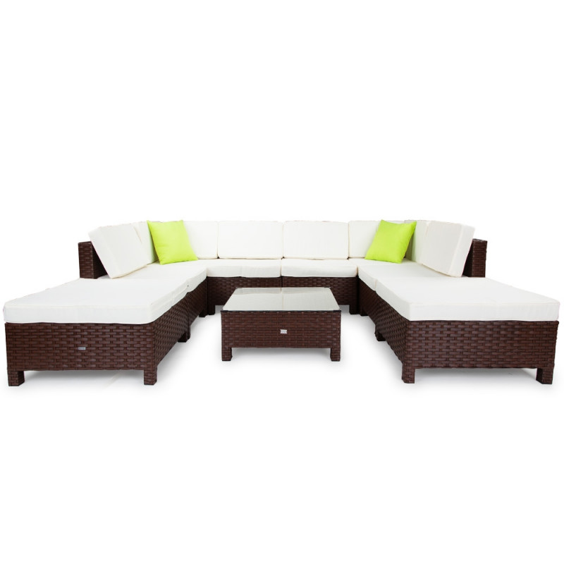 LONDON RATTAN Modular Sofa Outdoor Lounge Set 9pc Wicker Brown Beige by London Rattan