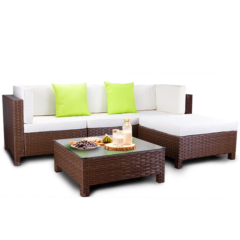 LONDON RATTAN Modular Sofa Outdoor Lounge Set 5pc Wicker Brown Cream by London Rattan