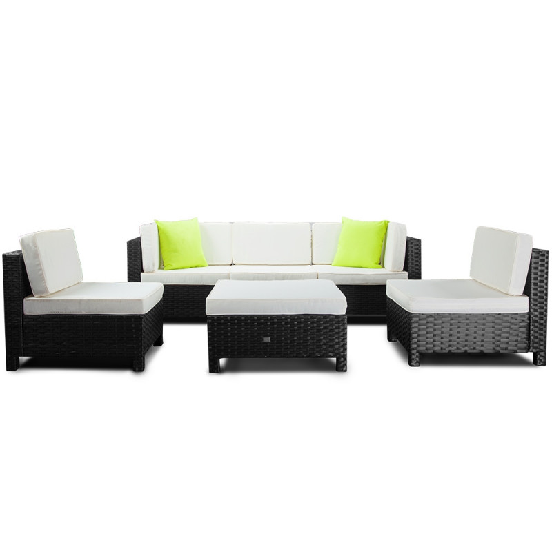 LONDON RATTAN Modular Sofa Outdoor Setting Furniture 6pc Wicker Black Light Grey by London Rattan