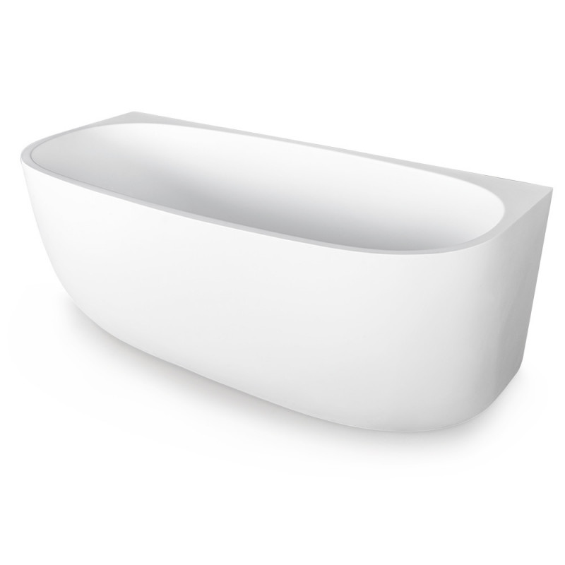 MARBELLA 1600x700x590 Back to Wall Bathtub Matte White Freestanding Acrylic by Marbella