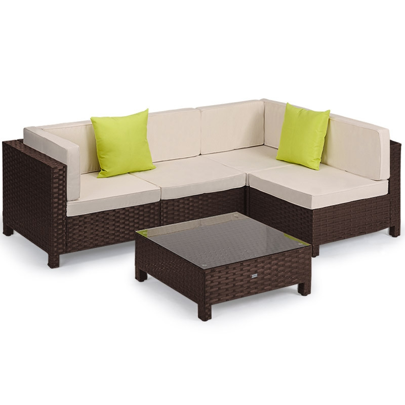 LONDON RATTAN Modular Sofa Outdoor Furniture Set 5pc Wicker Brown Cream by London Rattan