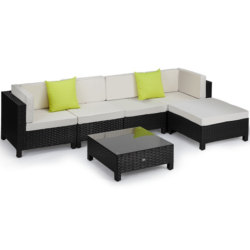 LONDON RATTAN 6pc Sofa Outdoor Furniture Black Wicker Lounge Set Setting Pool by London Rattan