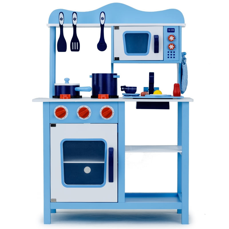 Blue Wooden Kids Playset Toy Kitchen