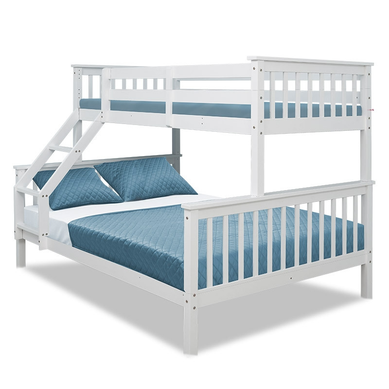 2in1 Single on Double Bunk Bed Kids White Solid Wood Timber Loft Furniture Slats by Kingston Slumber