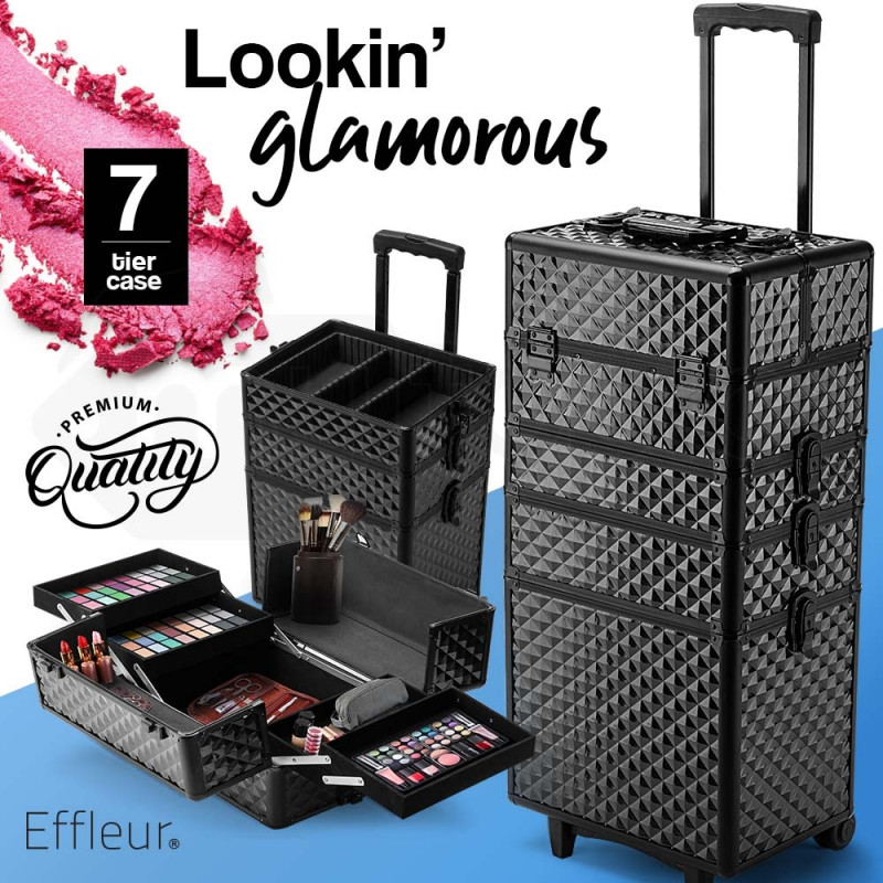 7 in 1 Cosmetic Case Beauty Makeup Holder Organiser Black Diamond Trolley by Effleur
