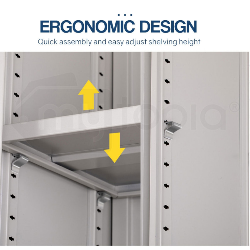 Avante Grey 4 Door Steel Stationary Office Storage Cabinet by Avante
