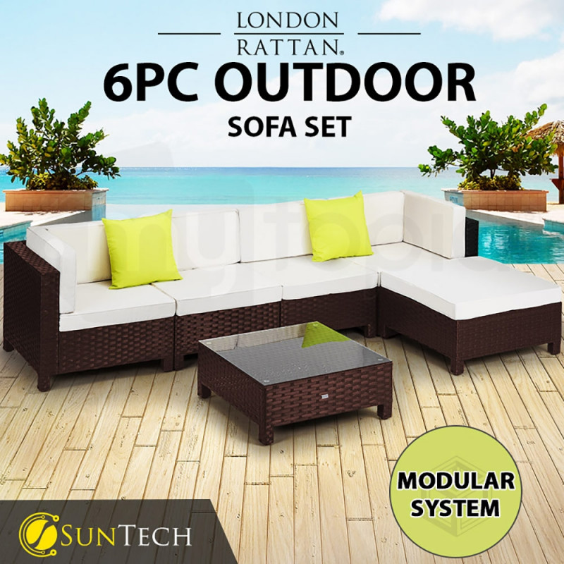 Brown 6pc Outdoor Lounge Set by London Rattan