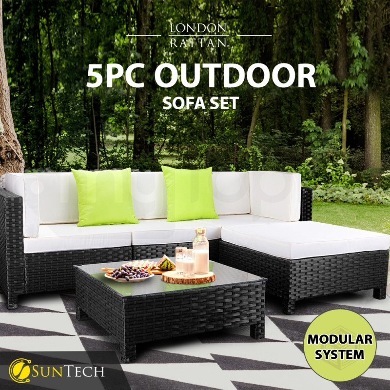 London Rattan 5pc Outdoor Lounge Furniture Setting Sofa Set