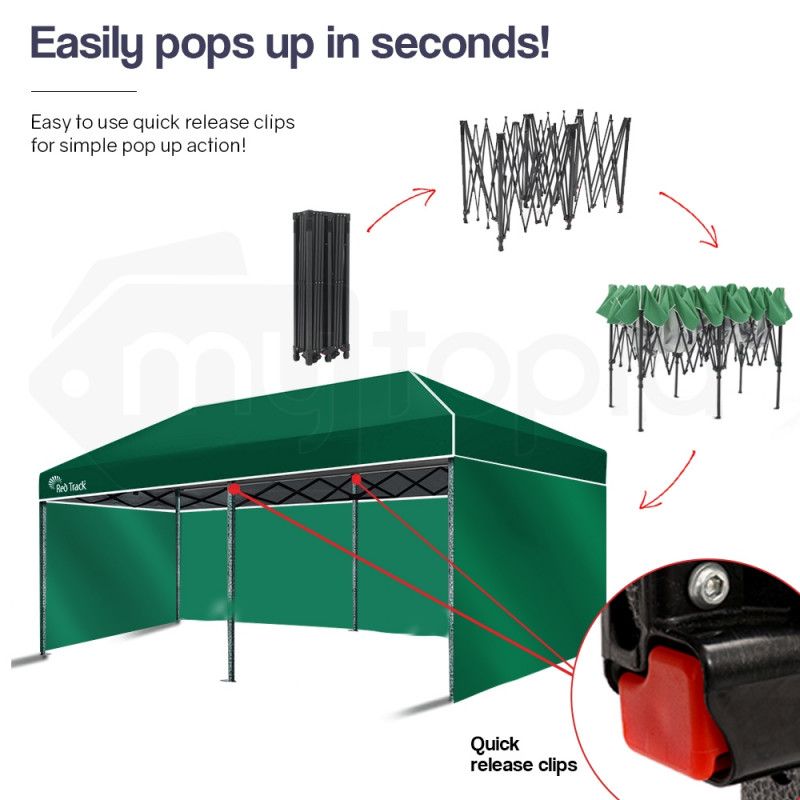 Red Track 3x6m Folding Gazebo Shade Outdoor GREEN Foldable Marquee Pop-Up by Red Track