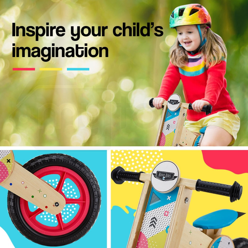 55f46c74ca5 ROVO KIDS Balance Bike Wooden Ride On Toy Bicycle Push Training Outdoor  Toddler by Rovo Kids