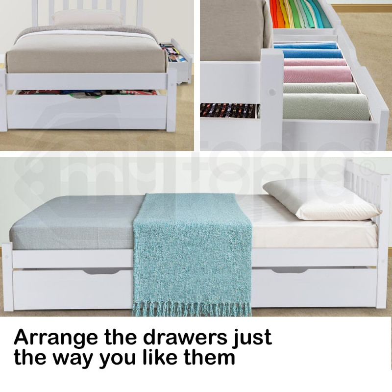 KINGSTON Single Bed Frame Storage Trundle Drawers Kid White Timber Furniture by Kingston Slumber