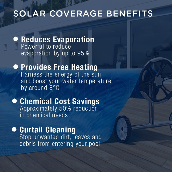 AURELAQUA Solar Swimming Pool Cover + Roller Wheel Adjustable 500 Bubble 8.5x4.2 by Aurelaqua