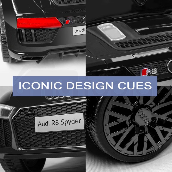 Licensed Audi R8 Spyder 12V Electric Kids Ride On Car Toy, Black by Rovo Kids