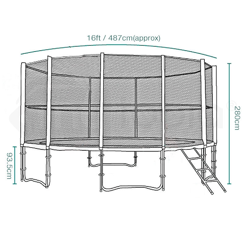 16ft Round Trampoline FREE Basketball Set Safety Net Spring Pad Cover Ladder by Up-Shot