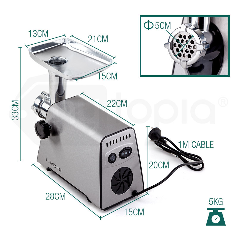 Silver 2500W Electric Meat Grinder - MG550 by Euro-Chef