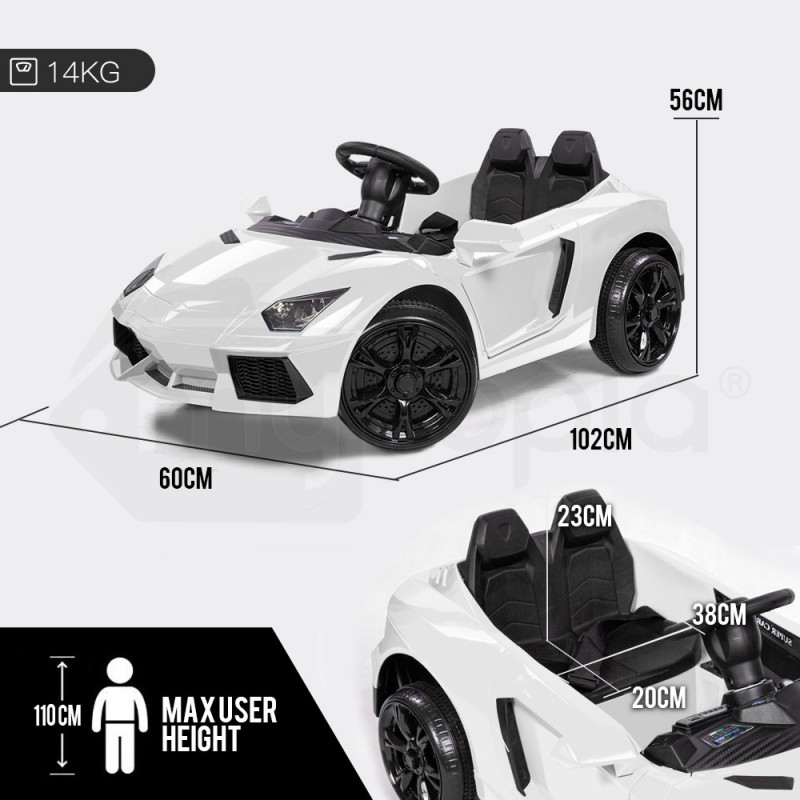 White Lamborghini Inspired Electric Kids Ride On Car by Rovo Kids