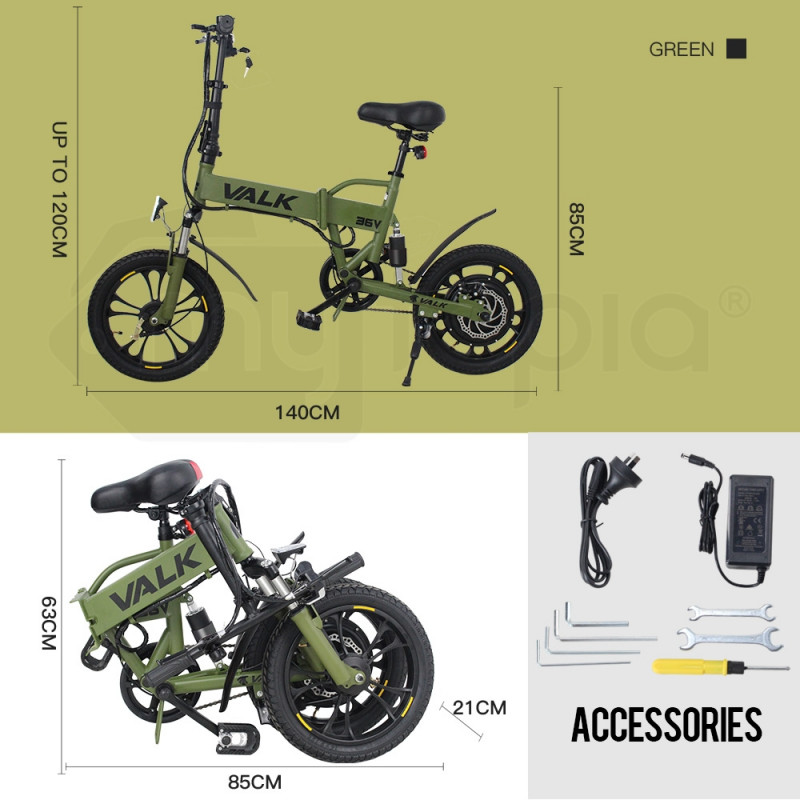 Valk Kharki 36V Folding Electric Bike - DualShock by Valk