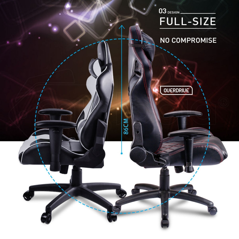 Overdrive Gaming Chair Office Computer Racing PU Leather Executive Black Race by Overdrive