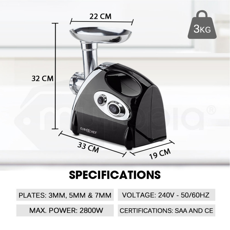 Black 2800W Electric Meat Grinder - MG500 by Euro-Chef