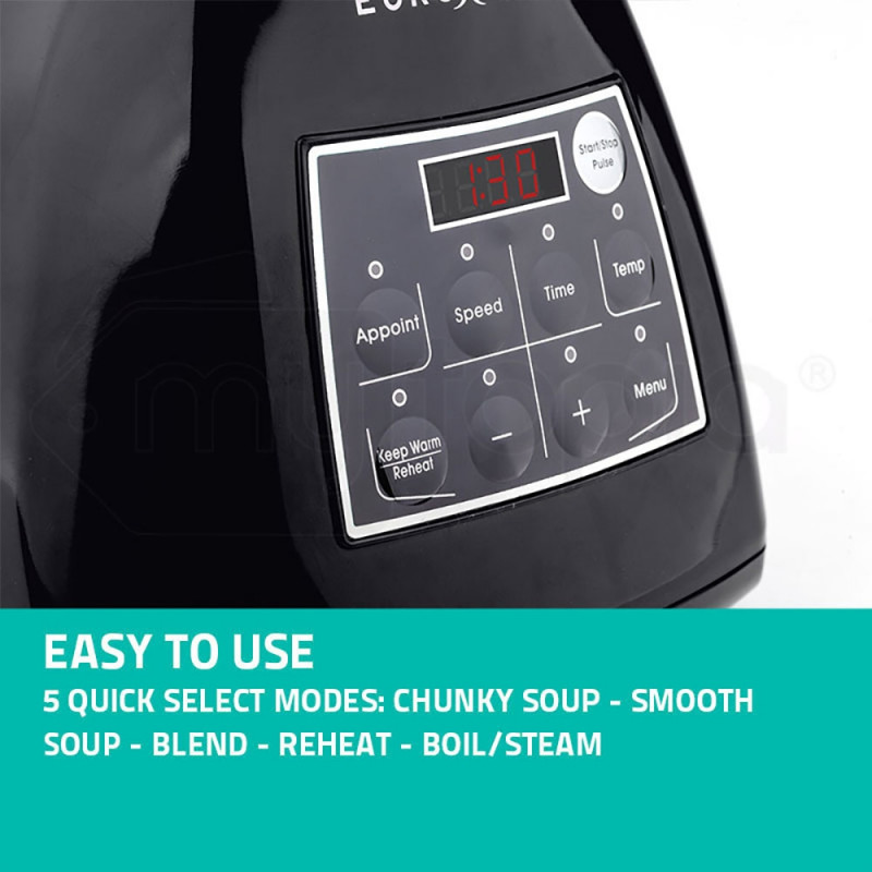 10-in-1 Black 1180W Electric Soup Maker / Blender - E1800R by Euro-Chef