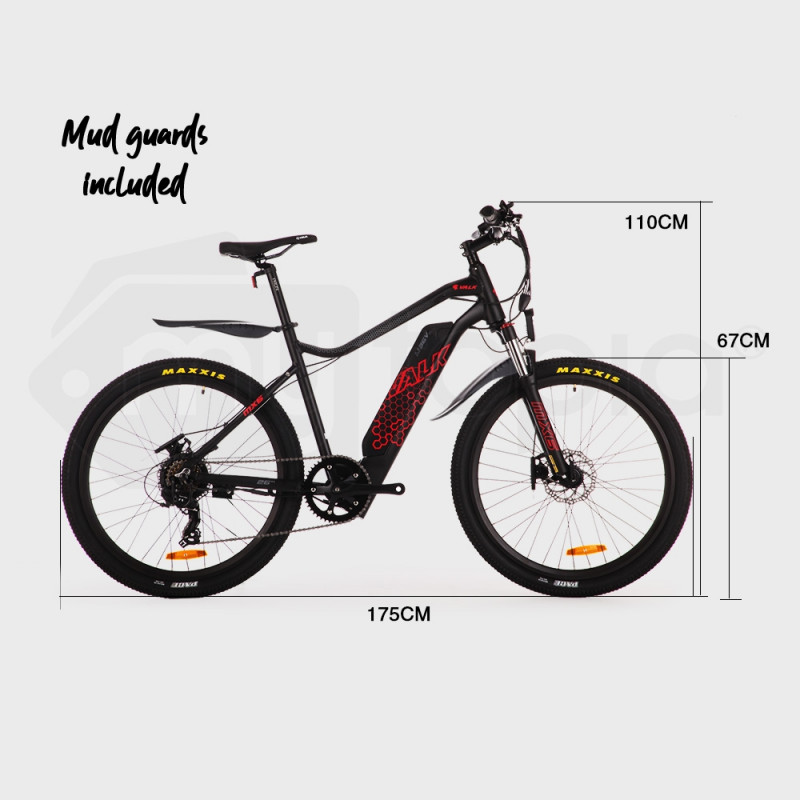 "VALK eMTB Maxxis Velo Shimano 36V 250W eBike Electric Mountain Bike  26"" Black - MX6 by Valk"