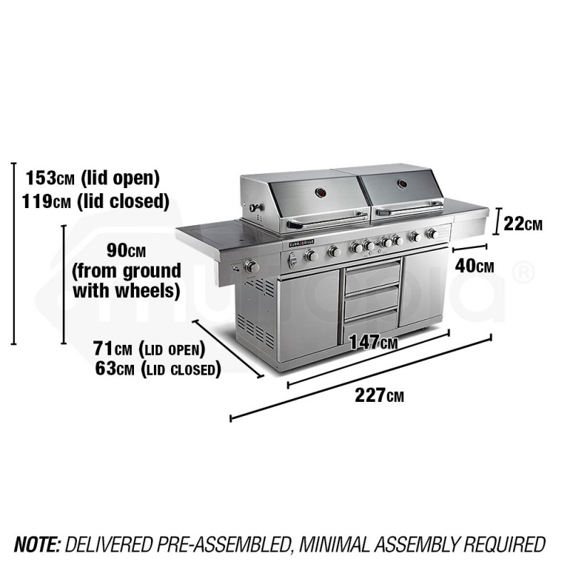 9 Burner Stainless Steel BBQ by Euro-Grille