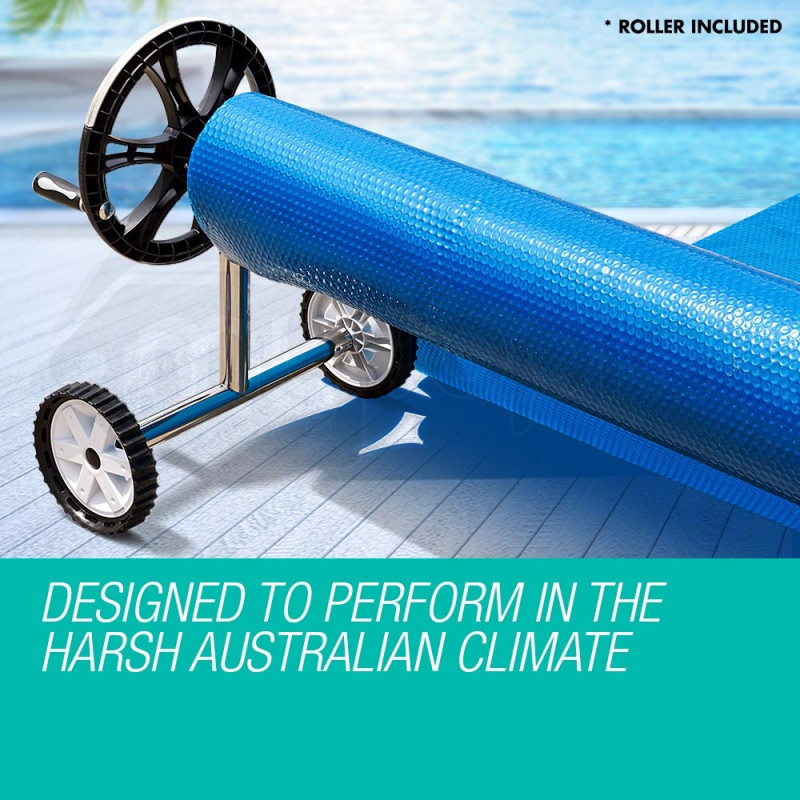 AURELAQUA Solar Swimming Pool Cover + Roller Wheel Adjustable 500 Bubble 6 x 3.2 by Aurelaqua