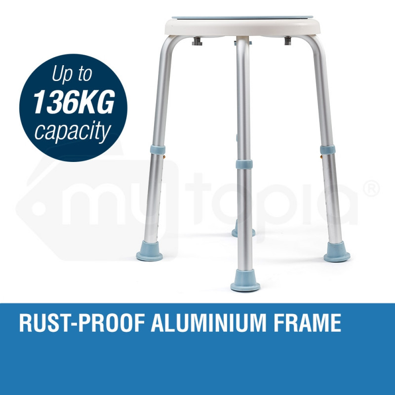 EQUIPMED Shower Chair Stool with Adjustable Swivel Seat Bath Aid Aluminium by Equipmed