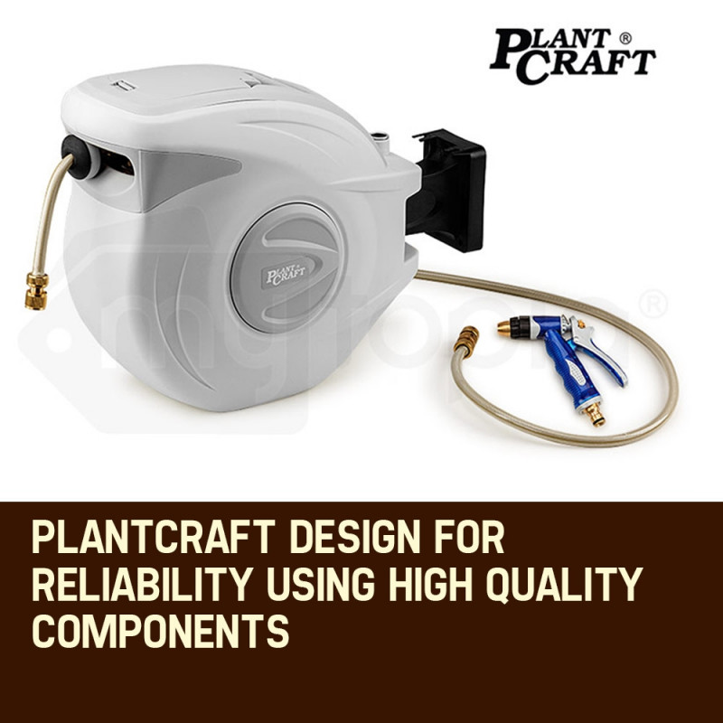 PLANTCRAFT 30M Retractable Garden Water Hose Reel Brass Wall Mount Gun Rewind by PlantCraft