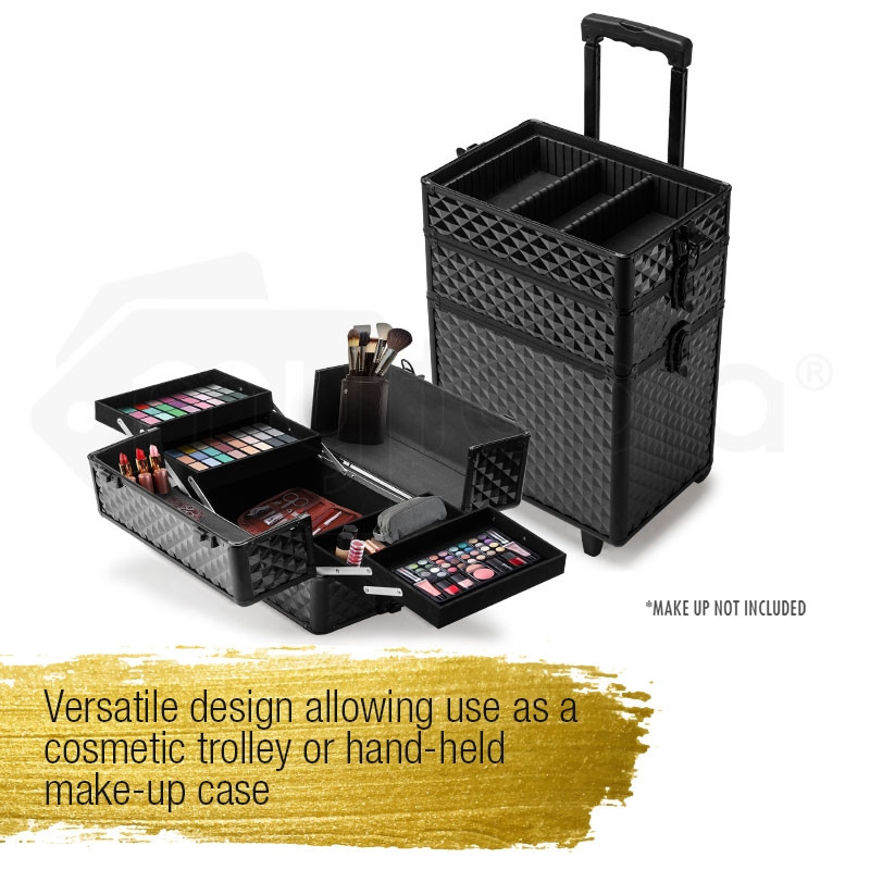 Black Trolley Diamond Cosmetic Case by Effleur