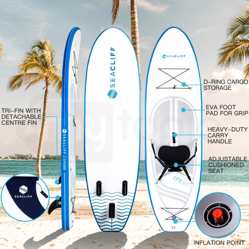 White & Blue Stand Up Paddle Board - CFX 300 by Seacliff