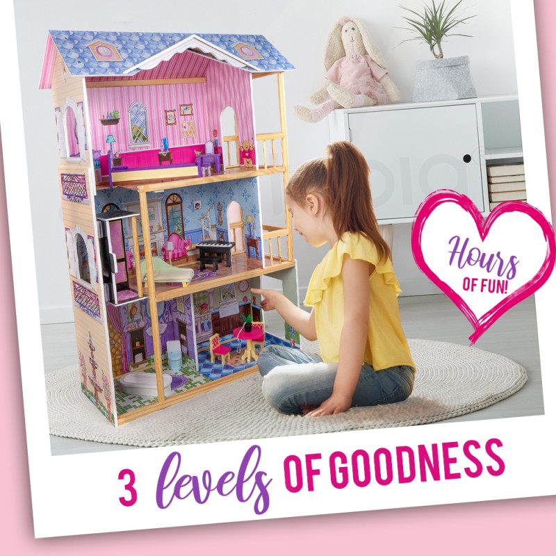 3-Storey 5 Rooms Wooden Doll House by Rovo Kids