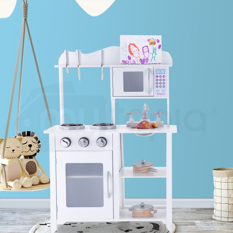 White Solid Wood Vintage Toy Kitchen by Rovo Kids