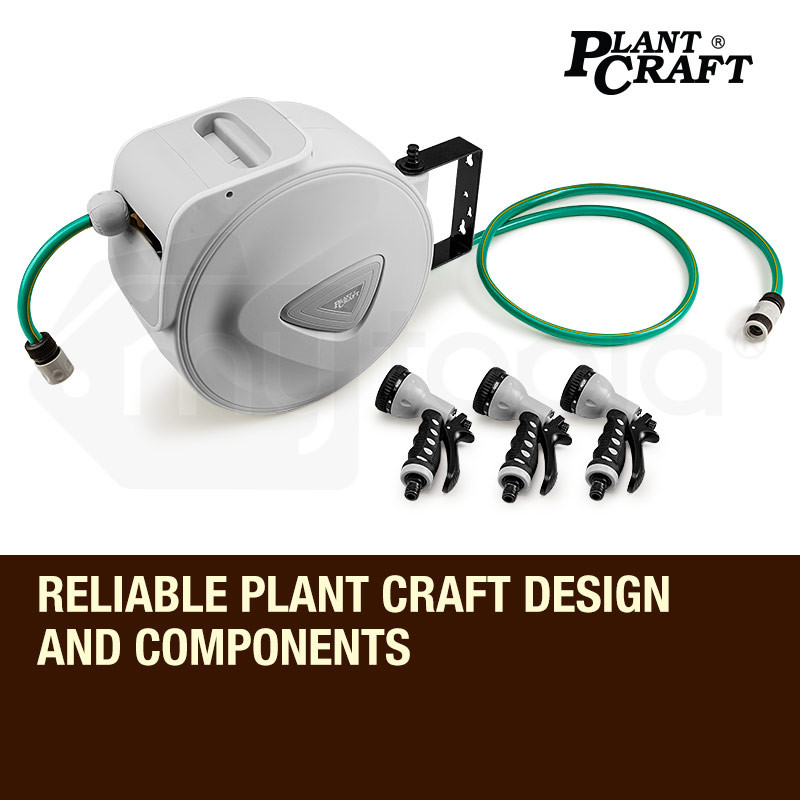 PLANTCRAFT 20M Retractable Garden Water Hose Reel Storage Spray Gun Rewind by PlantCraft