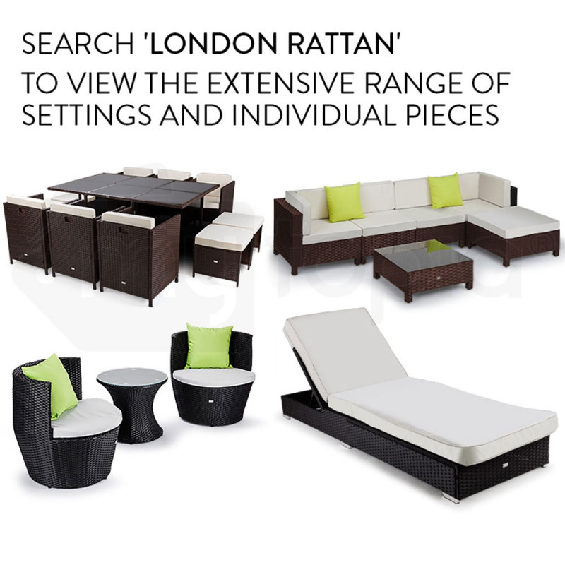 LONDON RATTAN Modular Sofa Outdoor Lounge Furniture 6pc Wicker Black Light Grey by London Rattan