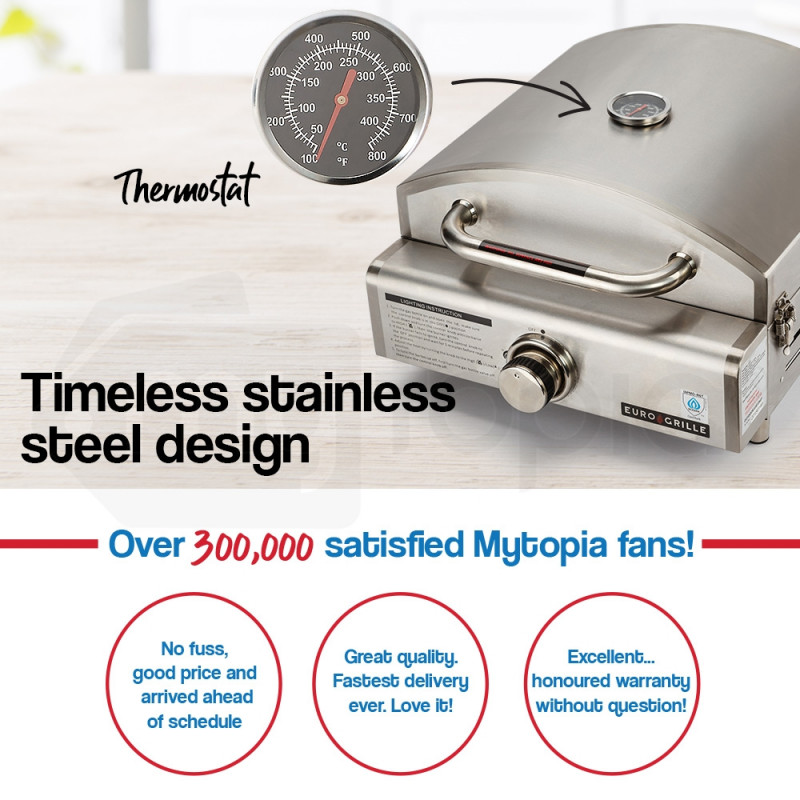 EuroGrille Portable Pizza Oven BBQ Camping LPG Gas Stainless Steel Grill by EuroGrille
