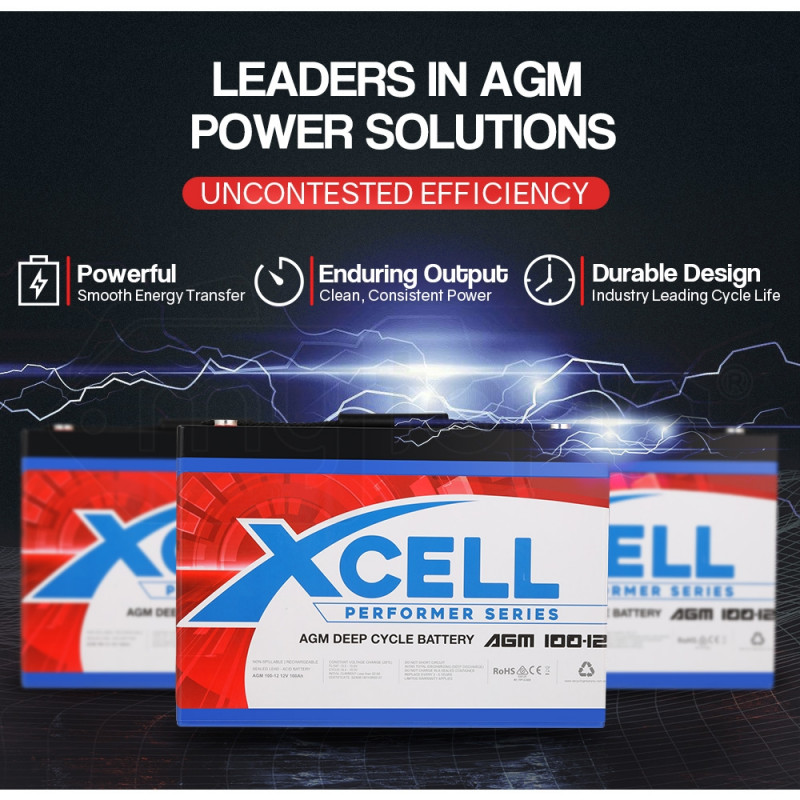 X-CELL AGM Deep Cycle Battery 12V 100Ah Portable Sealed Performer Series by X-Cell