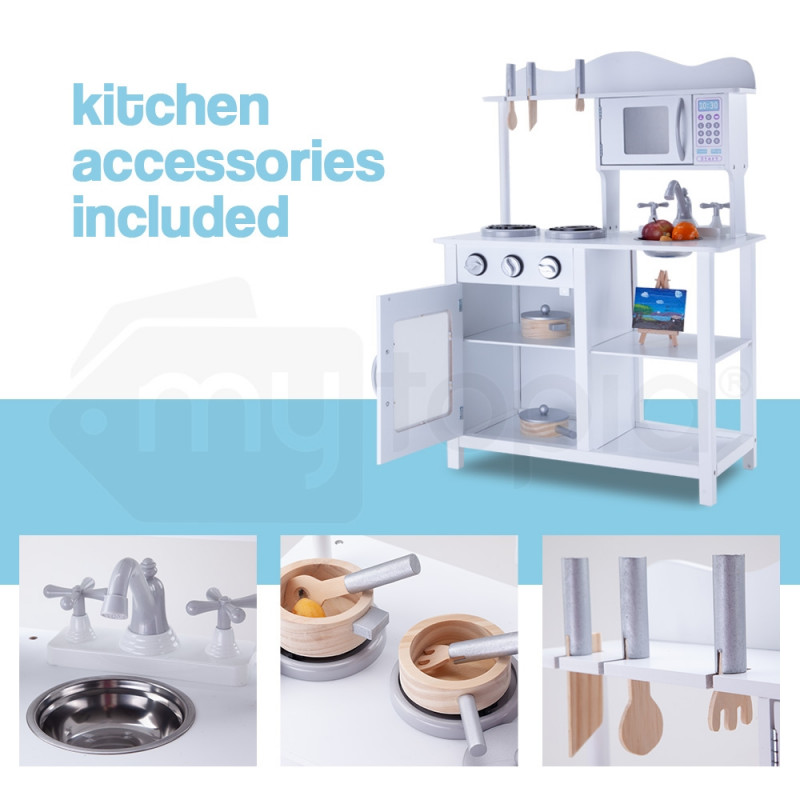 ROVO KIDS Wooden Kitchen Vintage Pretend Play Set Retro Toy Cooking Cookware by Rovo Kids