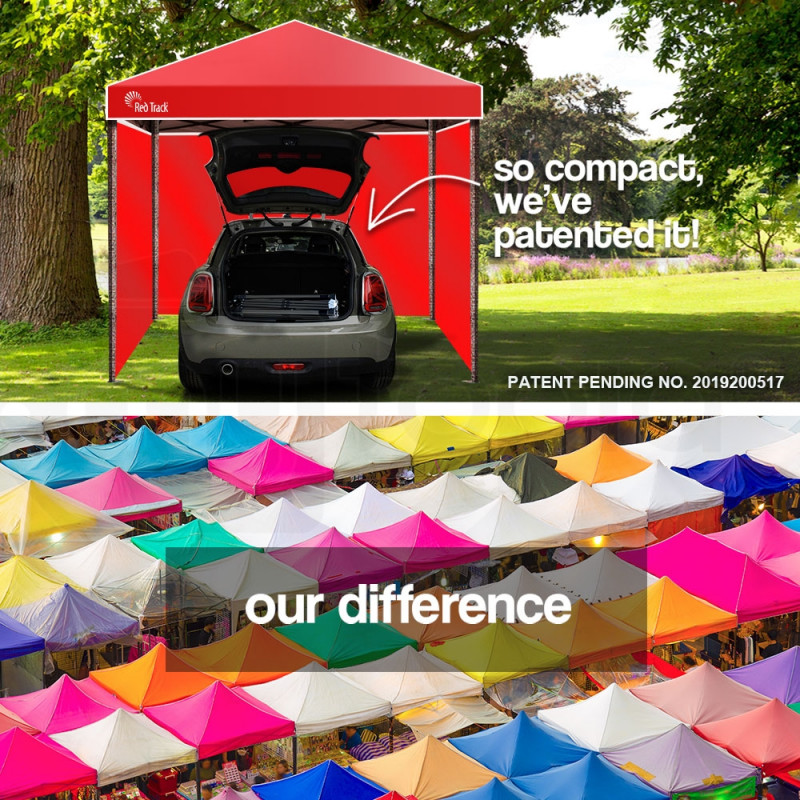 Red Track 3x3m Folding Gazebo Shade Outdoor Pop-Up Red Foldable Marquee by Red Track