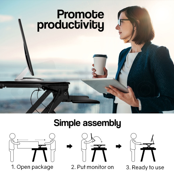 AVANTE Computer Desktop Sit/Stand Motorised Height Adjustable Desk 90cm 90cm Black by Avante