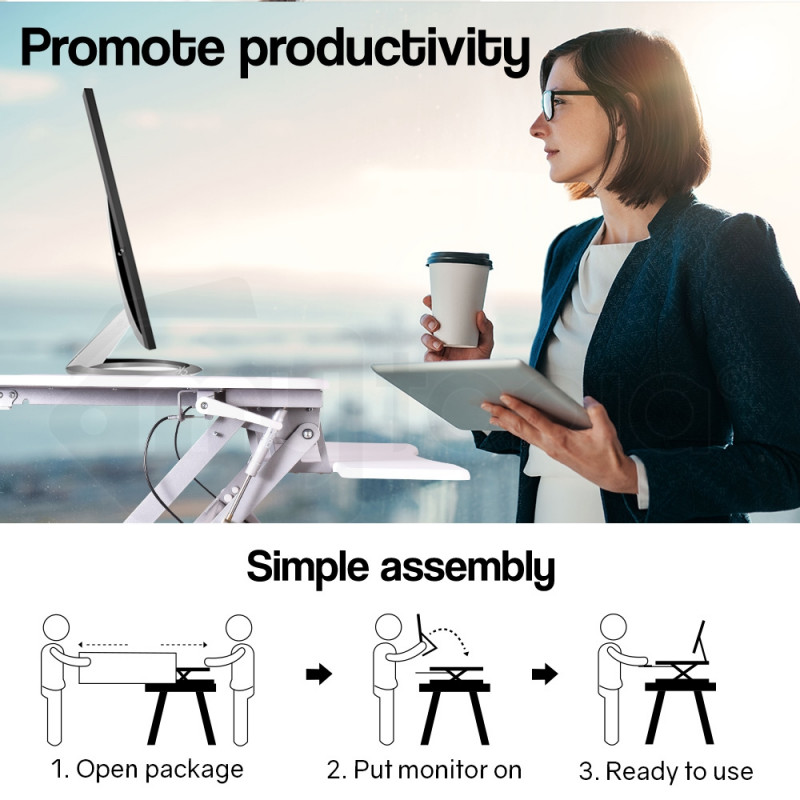 AVANTE Height Adjustable Desk Riser Sit/Stand Office Computer Desk by Avante