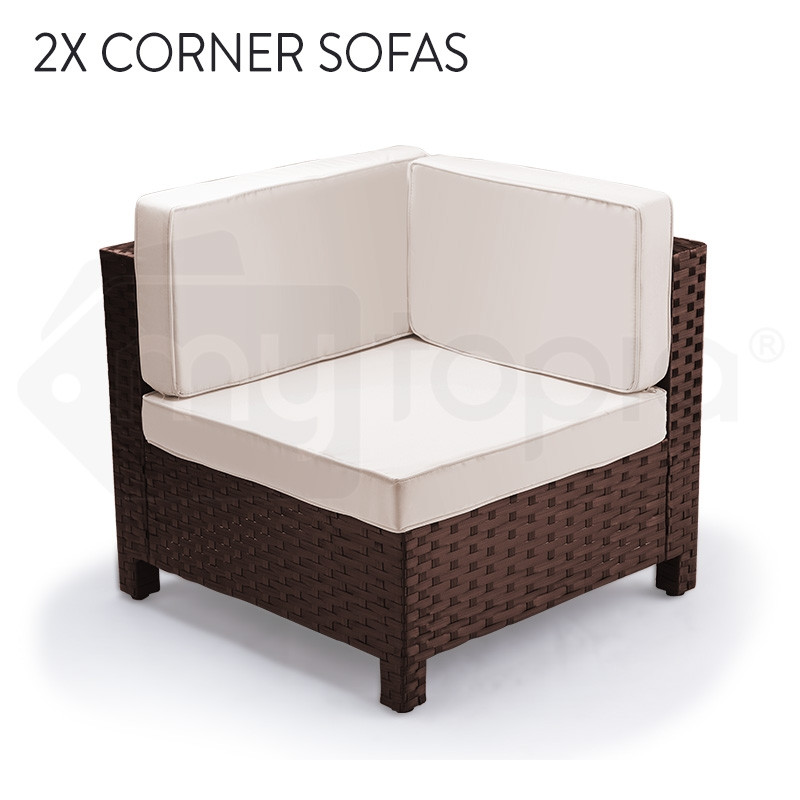 LONDON RATTAN Modular Sofa Outdoor Lounge Set 7pc Wicker Brown Cream by London Rattan