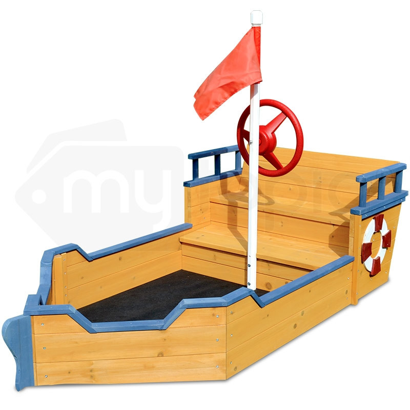 Kids Boat Sandpit - Wooden Outdoor Play Sand Pit Children Toy Box Large by Rovo Kids