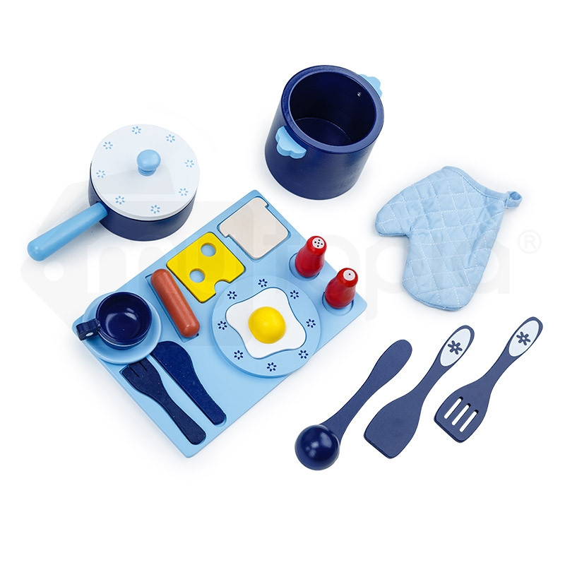 ROVO KIDS Wooden Kitchen Pretend Play Set Toy Children Cooking Home Cookware by Rovo Kids