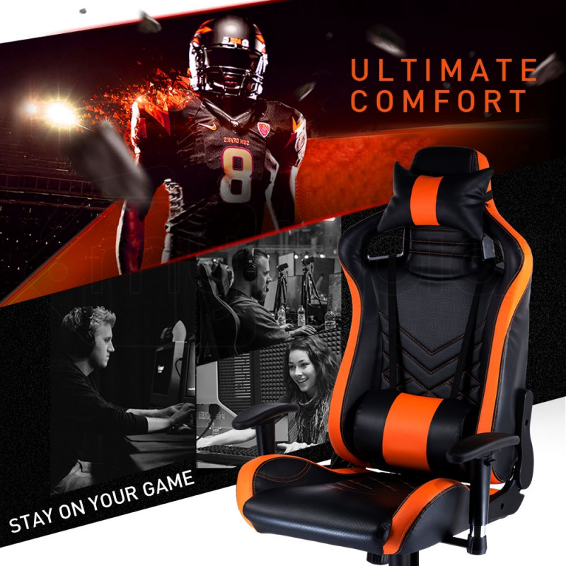 Overdrive Gaming Chair Office Computer Racing PU Leather Executive Black Orange by Overdrive