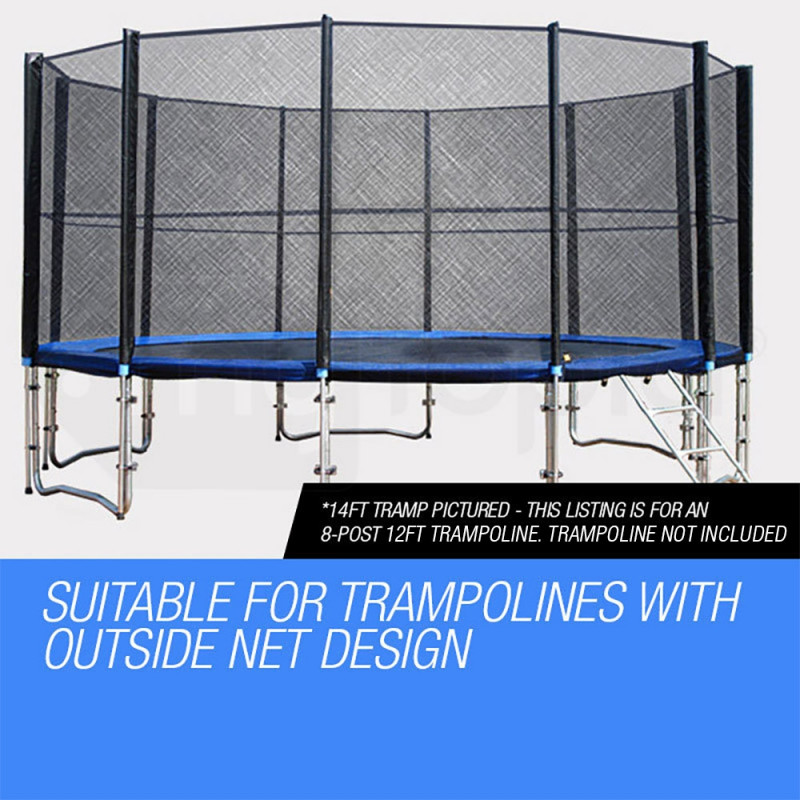 UP-SHOT Replacement Trampoline Safety Net Round Spare Part Enclosure 12ft 8 Pole by Up-Shot
