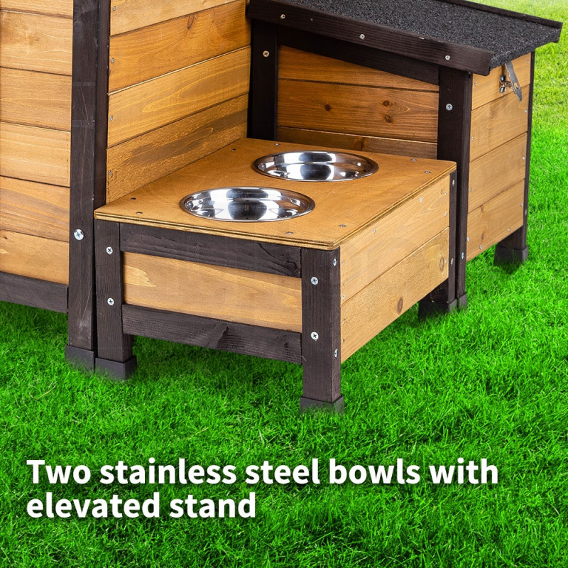 NEATAPET Dog House Kennel Pet Timber Wooden Stainless Steel Bowls Storage Box by NeataPet